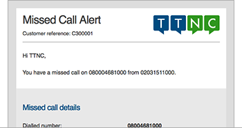 Missed Call email alert