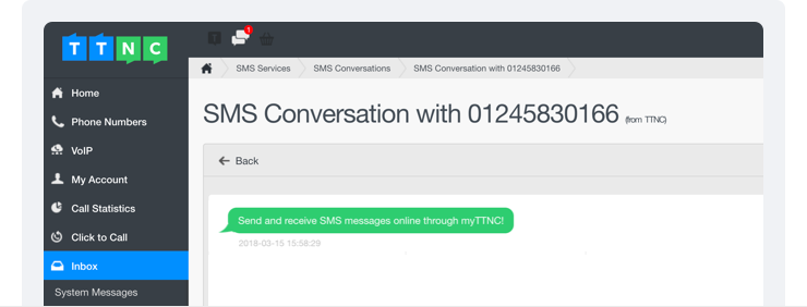 MyTTNC screenshot, SMS conversation